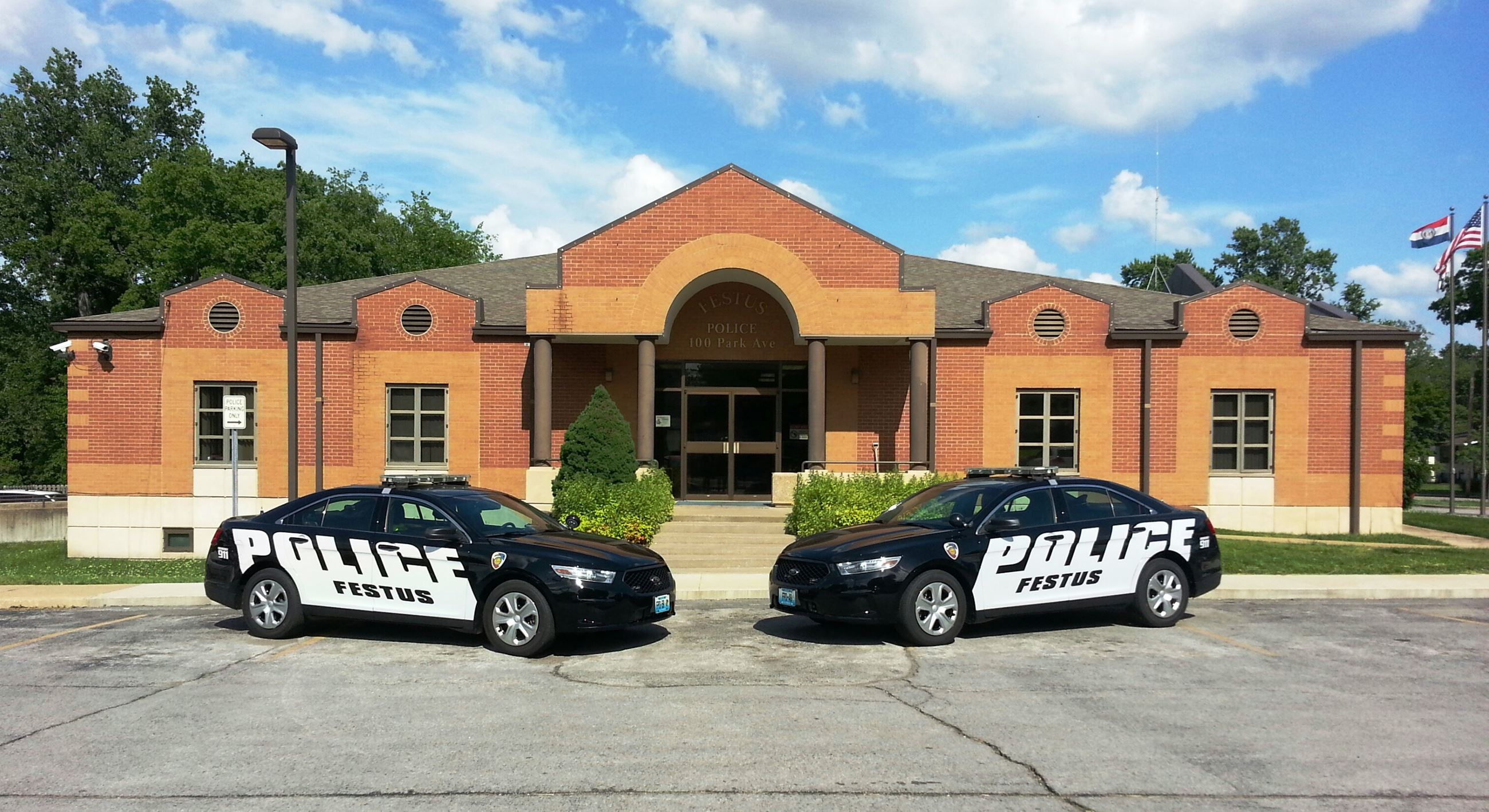 Festus Police Cars in Front of Station