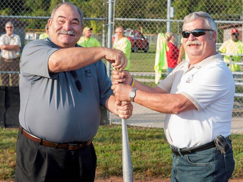 Festus Mayor Mike Cage and Crystal City Mayor Tom Schilly at Baseball Game
